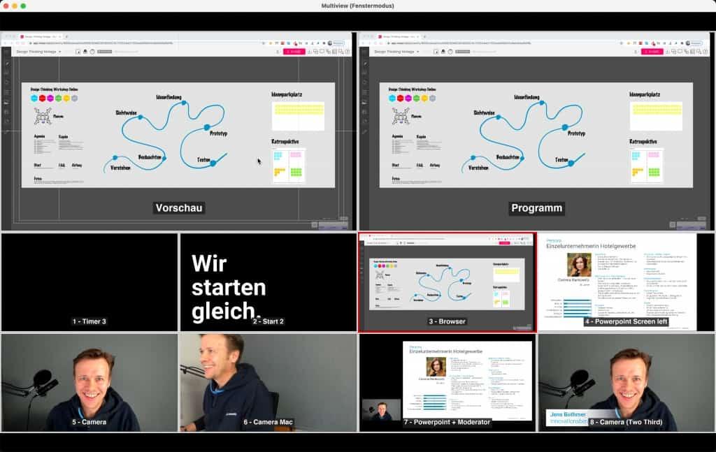 Design Thinking Workshops Online Beispiel Regie mit OBS